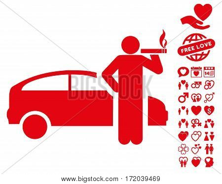 Smoking Taxi Driver pictograph with bonus marriage pictograms. Vector illustration style is flat iconic red symbols on white background.