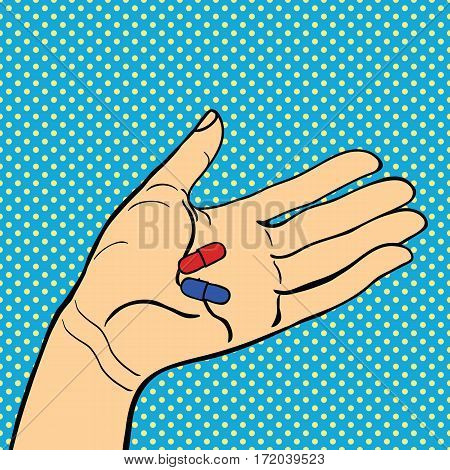 Pop art hands vector success expression idea. Vintage comic cartoon gesture person people. Stylized silhouette gesturing communication human with pills.