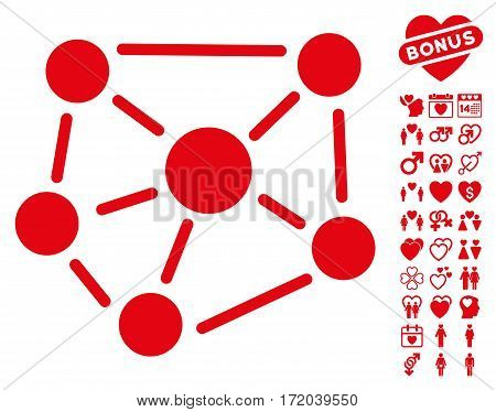 Social Graph pictograph with bonus decoration images. Vector illustration style is flat iconic red symbols on white background.