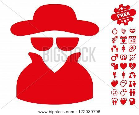 Spy pictograph with bonus decorative clip art. Vector illustration style is flat iconic red symbols on white background.