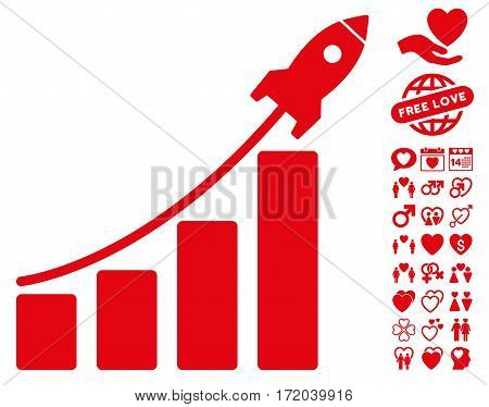 Startup Rocket Bar Chart icon with bonus amour pictures. Vector illustration style is flat iconic red symbols on white background.