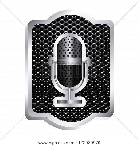 heraldic frame with grill surface and studio microphone icon relief vector illustration
