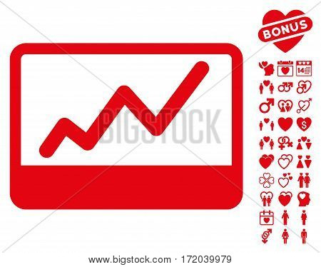 Stock Market pictograph with bonus passion images. Vector illustration style is flat iconic red symbols on white background.