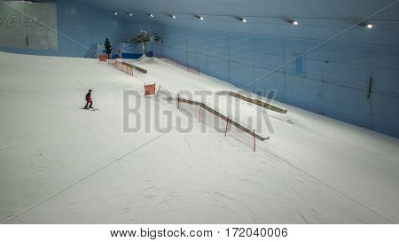 DUBAI, UNITED ARAB EMIRATES - JANUARY 29, 2017: Slides, skiing and snowboarding areas at Ski Dubai.