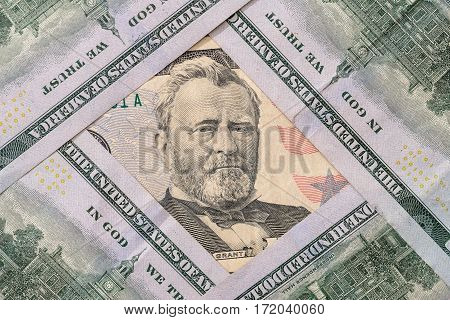 50 and 100 US $ Dollar Money close up