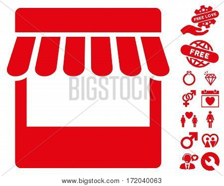 Store pictograph with bonus amour graphic icons. Vector illustration style is flat iconic red symbols on white background.