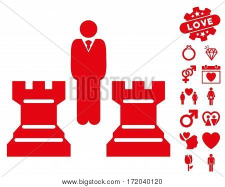 Strategy Chess Towers pictograph with bonus romantic images. Vector illustration style is flat iconic red symbols on white background.