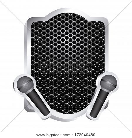 heraldic frame with grill surface and pair wireless dynamic microphone icon relief vector illustration