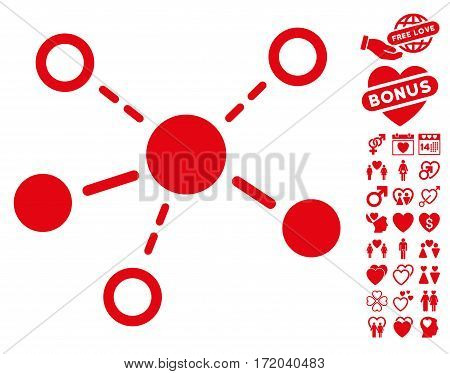 Structure icon with bonus romantic pictograph collection. Vector illustration style is flat iconic red symbols on white background.