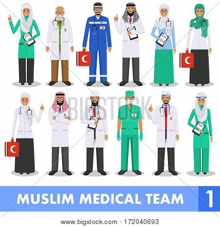 Detailed illustration of muslim arabic medical people in flat style on white background.