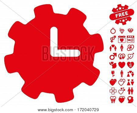Time Settings pictograph with bonus decorative icon set. Vector illustration style is flat iconic red symbols on white background.