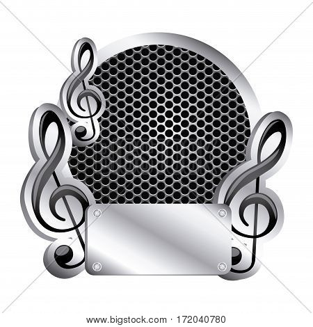 circular metallic frame with grill perforated and musical notes vector illustration