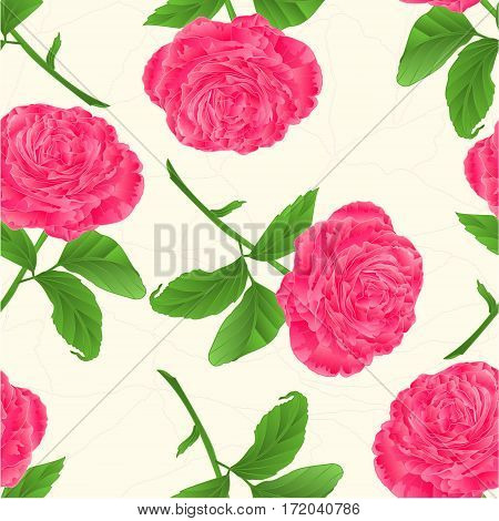 Seamless texture flower pink rose twig with leaves cracks in the porcelain vintage vector illustration