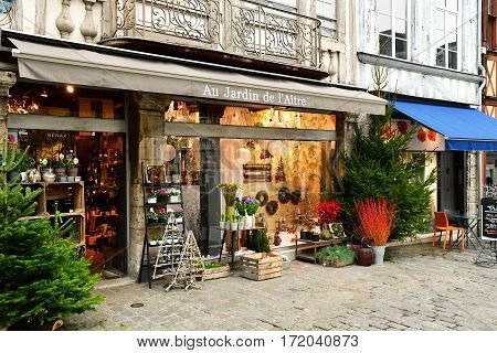 Rouen France - november 26 2016 : florist in the historical city center in winter