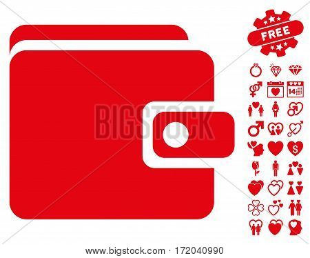Wallet icon with bonus lovely images. Vector illustration style is flat iconic red symbols on white background.