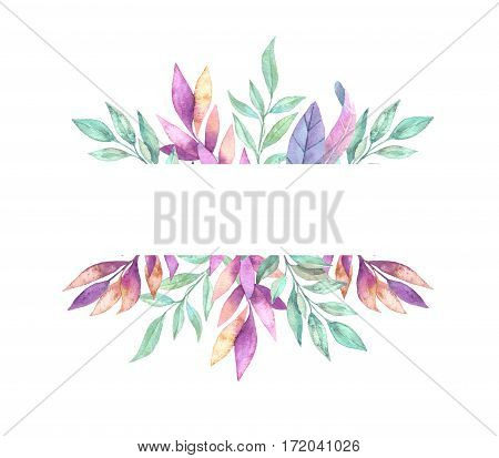 Hand Drawn Watercolor Illustration. Frame With Spring Leaves. Floral Design Elements.  Perfect For I