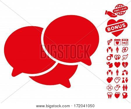 Webinar icon with bonus amour pictograms. Vector illustration style is flat iconic red symbols on white background.