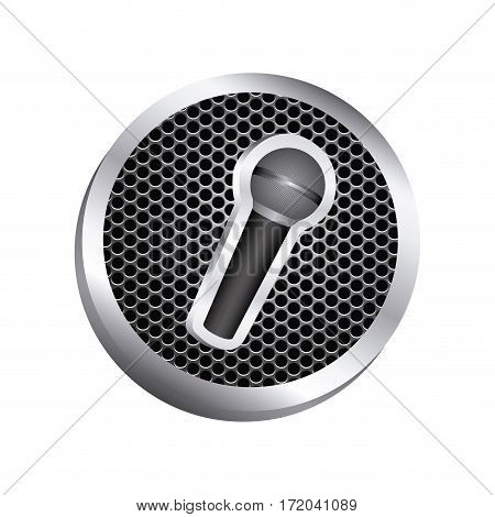 circular metallic frame with grill perforated and wireless dynamic microphone icon relief vector illustration