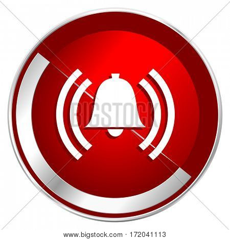Alarm red web icon. Metal shine silver chrome border round button isolated on white background. Circle modern design abstract sign for smartphone applications.