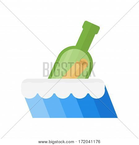 Underwater bottle with message illustration castaway note. Painted bottom sketch vector in sea in vintage style. Travel beach letter cork summer.
