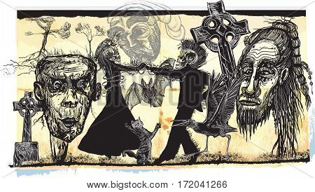Midnight dancers voodoo night - an hand drawn vector. Freehand sketching. Dancing lovers in the middle of horror faces. Churchyard dancers.