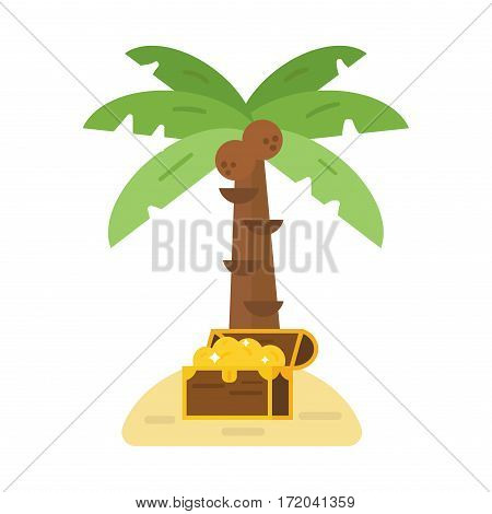 Vintage wooden treasure chest with golden coin and green palm tree vector illustration. Old money box isolated on white. Wealth antique rich jewelry piratic open money container.
