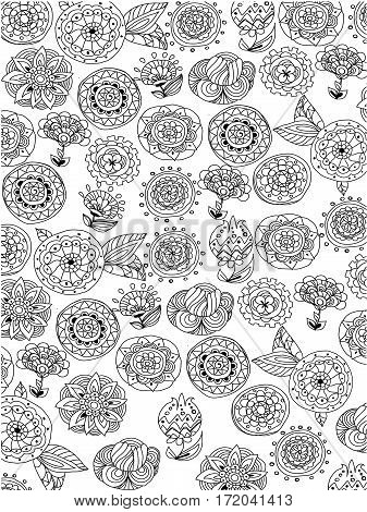 black white, beautiful floral contour and monochrome background,coloring