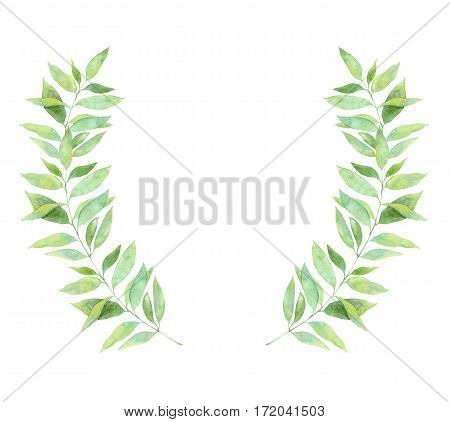 Hand Drawn Watercolor Illustration. Wreath With Spring Leaves. Floral Design Elements. Perfect For I