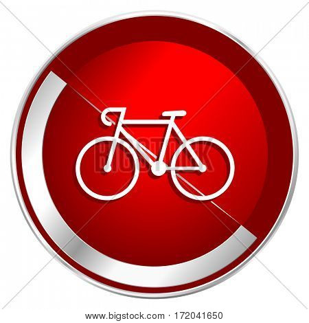 Bicycle red web icon. Metal shine silver chrome border round button isolated on white background. Circle modern design abstract sign for smartphone applications.