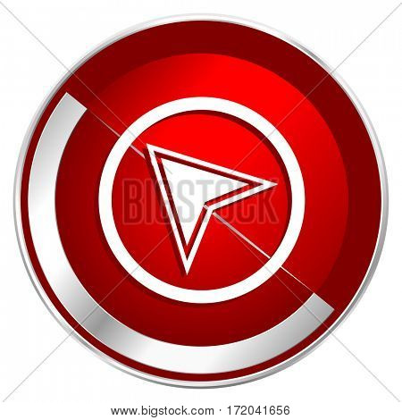 Navigation red web icon. Metal shine silver chrome border round button isolated on white background. Circle modern design abstract sign for smartphone applications.