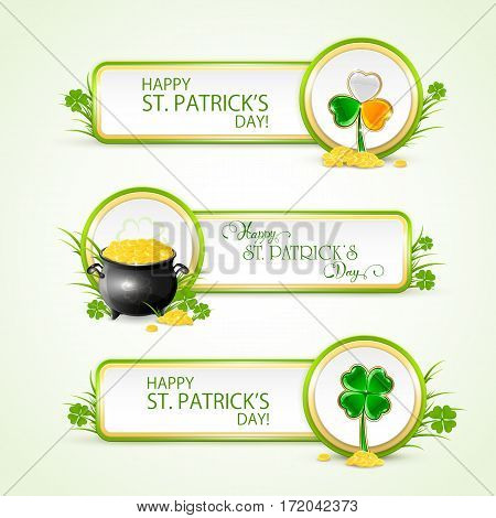 Patricks Day banners on white background with pot of gold, golden coins of leprechaun and clovers, illustration.