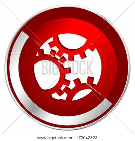 Gear red web icon. Metal shine silver chrome border round button isolated on white background. Circle modern design abstract sign for smartphone applications.