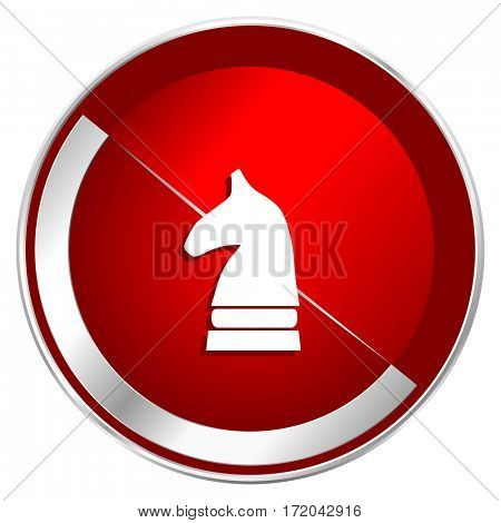 Chess horse red web icon. Metal shine silver chrome border round button isolated on white background. Circle modern design abstract sign for smartphone applications.
