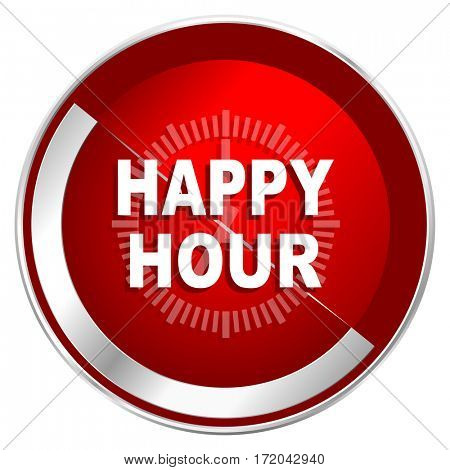 Happy hour red web icon. Metal shine silver chrome border round button isolated on white background. Circle modern design abstract sign for smartphone applications.