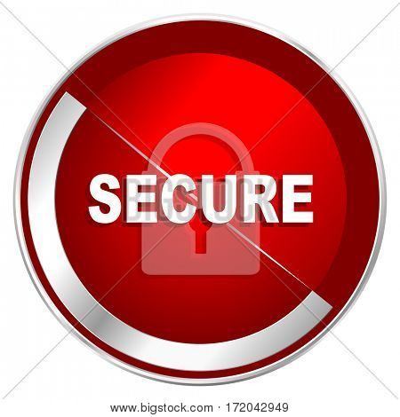 Secure red web icon. Metal shine silver chrome border round button isolated on white background. Circle modern design abstract sign for smartphone applications.