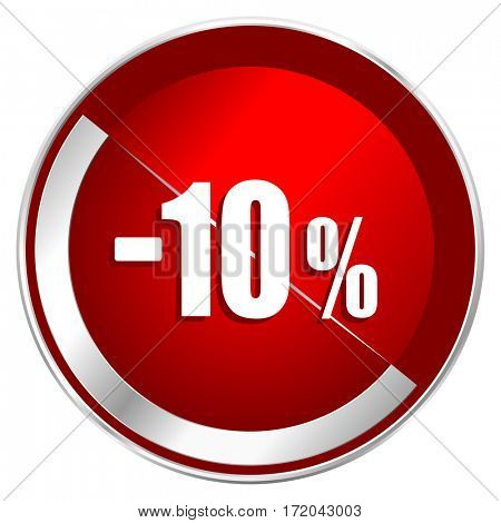 10 percent sale retail red web icon. Metal shine silver chrome border round button isolated on white background. Circle modern design abstract sign for smartphone applications.