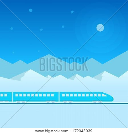 Train on railway with outdoor landscape in light and dark blue night, moon. Vector travel concept background. Train outdoor, transportation, travel. Flat illustration.