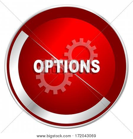 Options red web icon. Metal shine silver chrome border round button isolated on white background. Circle modern design abstract sign for smartphone applications.