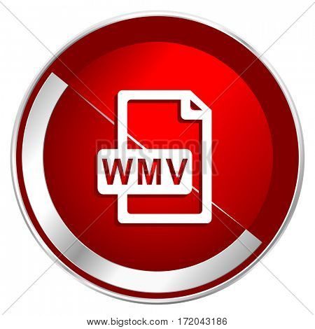 Wmv file red web icon. Metal shine silver chrome border round button isolated on white background. Circle modern design abstract sign for smartphone applications.