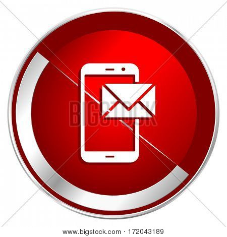 Smartphone red web icon. Metal shine silver chrome border round button isolated on white background. Circle modern design abstract sign for smartphone applications.