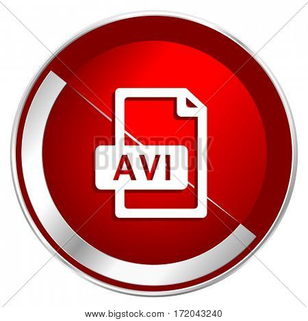 Avi file red web icon. Metal shine silver chrome border round button isolated on white background. Circle modern design abstract sign for smartphone applications.