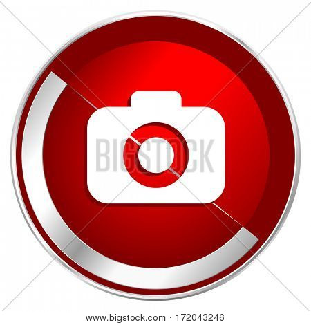 Photo camera red web icon. Metal shine silver chrome border round button isolated on white background. Circle modern design abstract sign for smartphone applications.