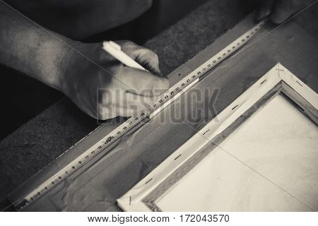 Framing the pictures details of a craftsmen job.
