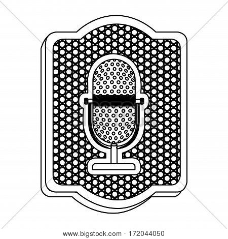 emblem microphone icon stock, vector illustration design