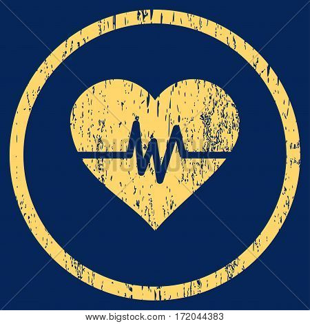 Heart Pulse grainy textured icon for overlay watermark stamps. Rounded flat vector symbol with dust texture. Circled yellow ink rubber seal stamp with grunge design on a blue background.