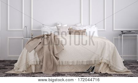 Classic bedroom with marble old vintage tiles, 3d illustration