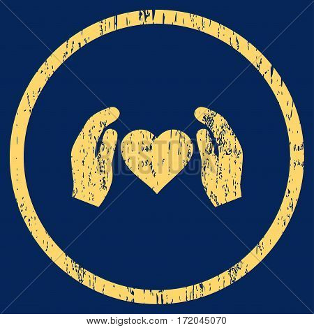 Love Care Hands grainy textured icon for overlay watermark stamps. Rounded flat vector symbol with dirty texture. Circled yellow ink rubber seal stamp with grunge design on a blue background.
