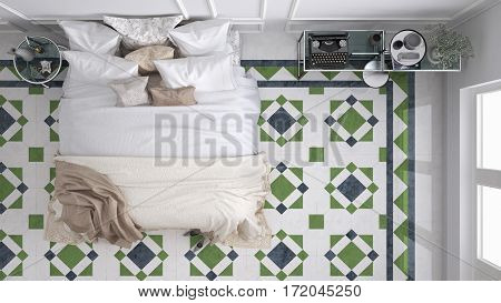 Classic bedroom top view with marble old vintage blue and green tiles, 3d illustration