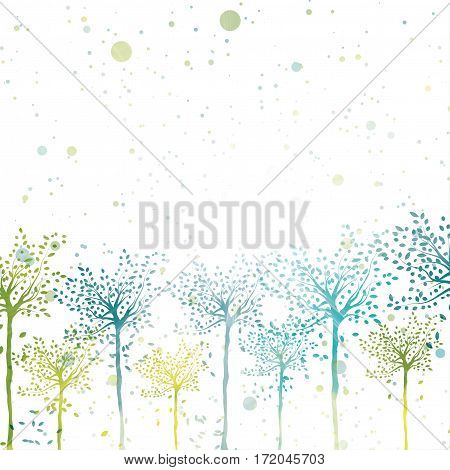 Vector abstract spring trees bright sunny background