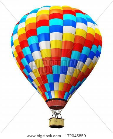 3D render illustration of color hot air balloon with gondola basket isolated on white background